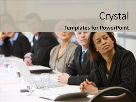 <b>Crystal</b> PowerPoint template with businesspeople watch presentation in board themed background and a light gray colored foreground design featuring a [design description].
