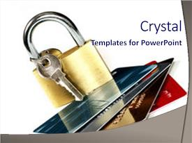 Powerpoint template internet banking security depiction with a slides with cards and padlock online banking background and a sky blue colored foreground custom template toneelgroepblik Image collections