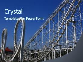 <b>Crystal</b> PowerPoint template with carnival roller coaster amusement park themed background and a ocean colored foreground design featuring a [design description].