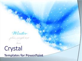 <b>Crystal</b> PowerPoint template with christmas borders - abstract winter background with snow themed background and a sky blue colored foreground design featuring a [design description].