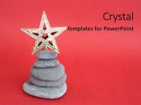 Presentation theme consisting of christmas pebble tree and star background and a red colored foreground.