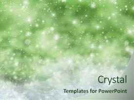 <b>Crystal</b> PowerPoint template with christmas texture with sparkling stars themed background and a soft green colored foreground design featuring a [design description].