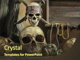 Skull powerpoint templates crystalgraphics cool new presentation theme with closeup pirate with two backdrop and a tawny toneelgroepblik Choice Image