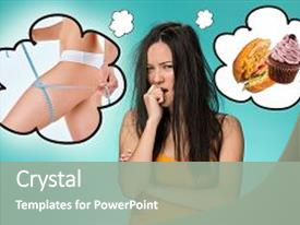 <b>Crystal</b> PowerPoint template with collage about health diet themed background and a gray colored foreground design featuring a [design description].