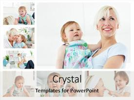 <b>Crystal</b> PowerPoint template with collage of a blonde woman themed background and a light gray colored foreground design featuring a [design description].