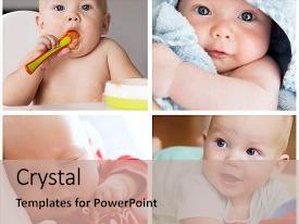 <b>Crystal</b> PowerPoint template with collage of photos baby child themed background and a coral colored foreground design featuring a [design description].