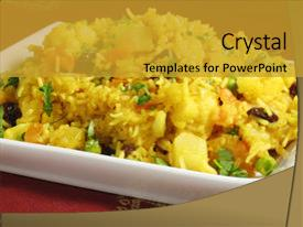 Indian food powerpoint templates crystalgraphics cool new slides having colorful indian rice dish made backdrop and a gold colored foreground toneelgroepblik Choice Image