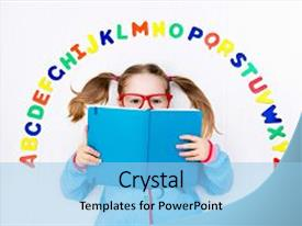 <b>Crystal</b> PowerPoint template with colorful roman alphabet letters education themed background and a light blue colored foreground design featuring a [design description].