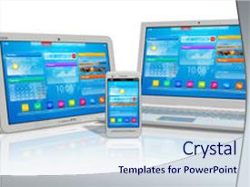 <b>Crystal</b> PowerPoint template with computer - white tablet pc smartphone themed background and a sky blue colored foreground design featuring a [design description].