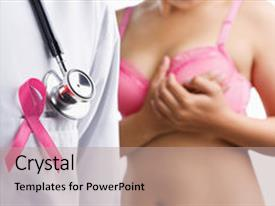 <b>Crystal</b> PowerPoint template with concept for breast cancer themed background and a coral colored foreground design featuring a [design description].