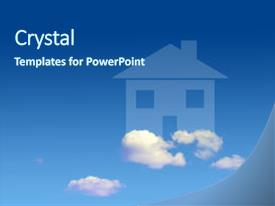 <b>Crystal</b> PowerPoint template with conceptual image of house shape themed background and a ocean colored foreground design featuring a [design description].