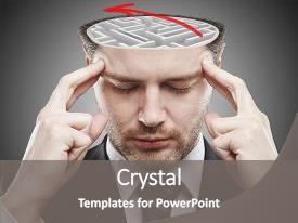 <b>Crystal</b> PowerPoint template with concrete maze and red arrow themed background and a gray colored foreground design featuring a [design description].