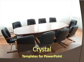 Colorful presentation design enhanced with conference table board room office backdrop and a tawny brown colored foreground.