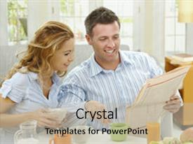<b>Crystal</b> PowerPoint template with couple having healthy breakfast themed background and a light gray colored foreground design featuring a [design description].