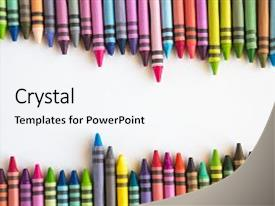 Crayon powerpoint templates crystalgraphics crystal powerpoint template with crayons lined up isolated themed background and a white colored foreground design toneelgroepblik Images