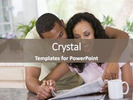 <b>Crystal</b> PowerPoint template with current affairs - couples hugging and looking themed background and a gray colored foreground design featuring a [design description].