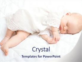 Presentation design with cute little baby sleeping background and a sky blue colored foreground.