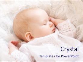 Cool new PPT layouts with cute little baby sleeping backdrop and a sky blue colored foreground.