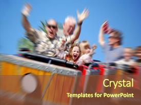<b>Crystal</b> PowerPoint template with daughter on amusement park themed background and a tawny brown colored foreground design featuring a [design description].