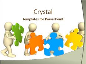 Design featuring 3 puzzle pieces - decision making - four puppets image and a cream colored foreground.