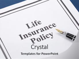 Life insurance powerpoint templates crystalgraphics crystal powerpoint template with document of life insurance policy themed background and a white colored foreground pronofoot35fo Images
