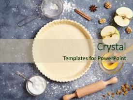Pie powerpoint templates crystalgraphics ppt having dough preparation recipe cake backdrop and a soft green colored foreground toneelgroepblik Images