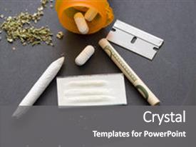 Illegal drugs powerpoint templates crystalgraphics ppt theme having drugs with razor blade background and a gray colored foreground toneelgroepblik Choice Image