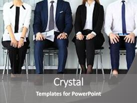 Presentation design enhanced with education - business people waiting for job background and a gray colored foreground.