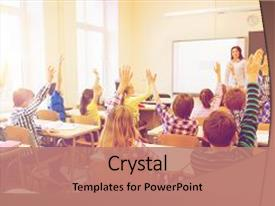 <b>Crystal</b> PowerPoint template with education elementary school learning themed background and a coral colored foreground design featuring a [design description].