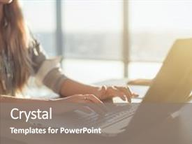 <b>Crystal</b> PowerPoint template with education - female writer typing using laptop themed background and a gray colored foreground design featuring a [design description].