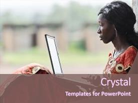 <b>Crystal</b> PowerPoint template with education for africa technology symbol themed background and a violet colored foreground design featuring a [design description].