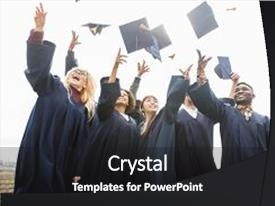 <b>Crystal</b> PowerPoint template with education graduation and people concept  themed background and a dark gray colored foreground design featuring a [design description].