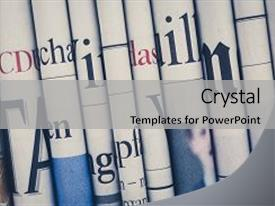 <b>Crystal</b> PowerPoint template with education - news newspaper news newspaper news themed background and a light gray colored foreground design featuring a [design description].