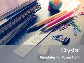 I love this presentation with education - school supplies on blackboard background background and a gray colored foreground.