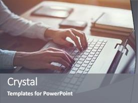 <b>Crystal</b> PowerPoint template with education - working at home with laptop themed background and a gray colored foreground design featuring a [design description].