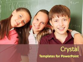 <b>Crystal</b> PowerPoint template with educational theme children themed background and a tawny brown colored foreground design featuring a [design description].