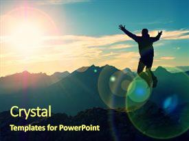 <b>Crystal</b> PowerPoint template with effect bow light circles crazy themed background and a tawny brown colored foreground design featuring a [design description].