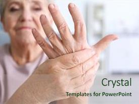 Elderly powerpoint templates crystalgraphics crystal powerpoint template with elderly woman suffering from pain themed background and a soft green colored toneelgroepblik Images