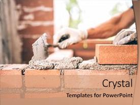 <b>Crystal</b> PowerPoint template with engineering - bricklayer worker installing brick masonry themed background and a coral colored foreground design featuring a [design description].