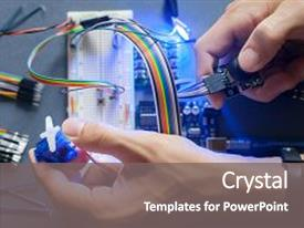Invention powerpoint templates crystalgraphics ppt with robot engineering robotics development closeup background and a gray colored foreground toneelgroepblik Gallery