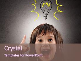 <b>Crystal</b> PowerPoint template with excellent idea kid with illustrated themed background and a violet colored foreground design featuring a [design description].