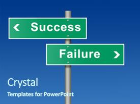 PPT layouts with failure success - green street sign created background and a ocean colored foreground.