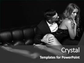 <b>Crystal</b> PowerPoint template with fashion photo of beautiful impassioned themed background and a dark gray colored foreground design featuring a [design description].