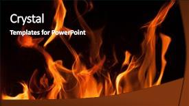 <b>Crystal</b> PowerPoint template with flames on a black background themed background and a black colored foreground design featuring a [design description].
