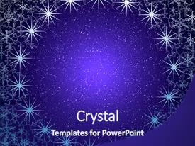 Presentation having frame glow snowflakes and star background and a navy blue colored foreground.