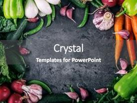 Vegetables powerpoint templates crystalgraphics crystal powerpoint template with fresh vegetables colorful vegetables background themed background and a dark gray colored toneelgroepblik Choice Image
