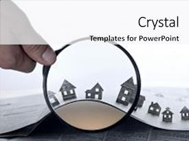 <b>Crystal</b> PowerPoint template with front of an open newspaper themed background and a white colored foreground design featuring a [design description].