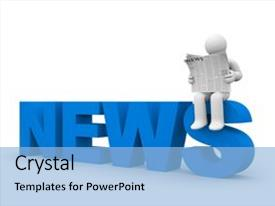<b>Crystal</b> PowerPoint template with gazette - person read newspaper themed background and a light blue colored foreground design featuring a [design description].