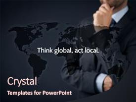 Presentation having global act local globalization business background and a wine colored foreground.
