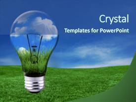 Energy conservation powerpoint templates crystalgraphics slide deck with global concept of green energy background and a ocean colored foreground toneelgroepblik Choice Image